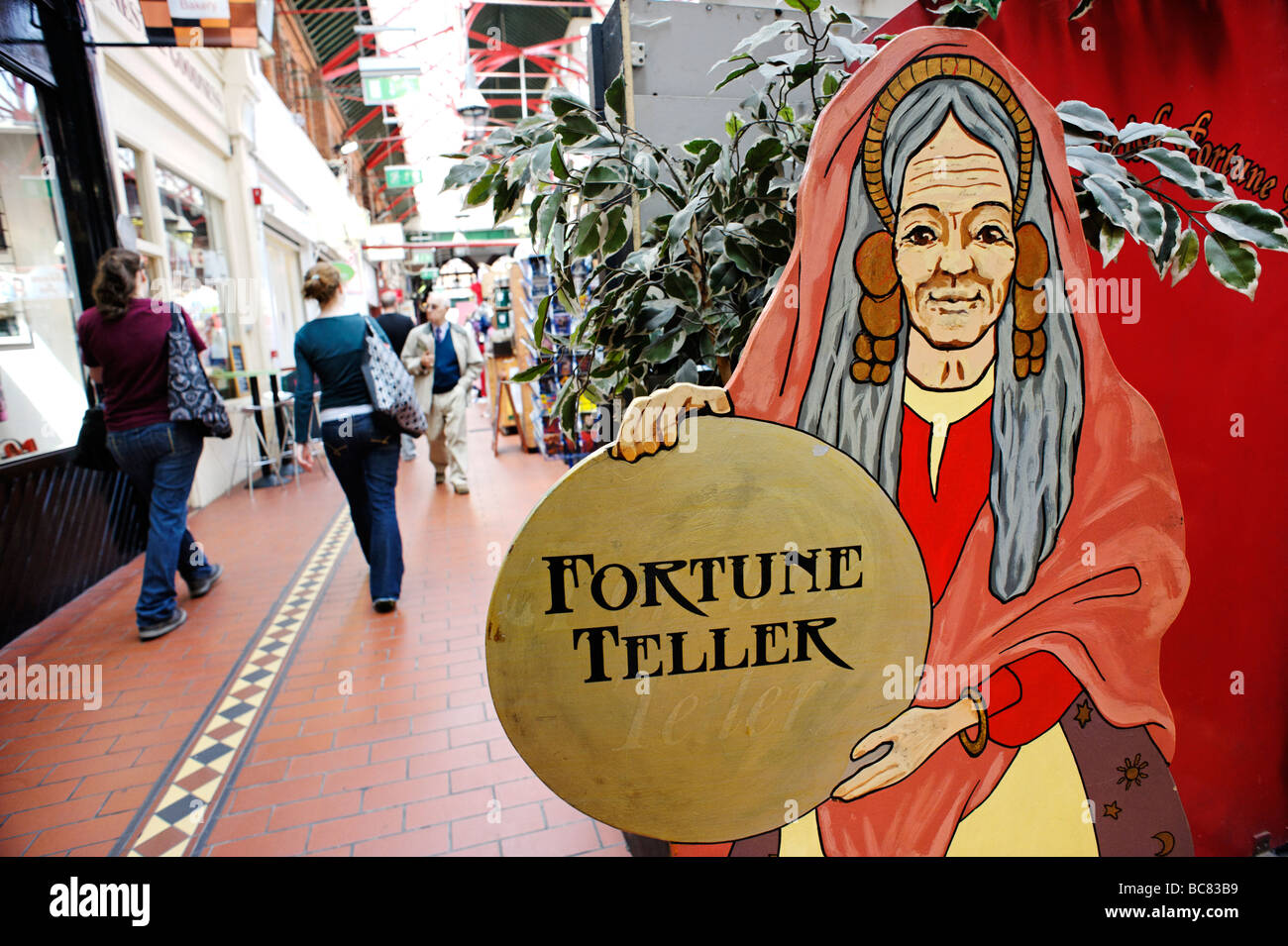 Fortune teller stall in South City Market aka George s Street Arcade in Dublin Republic of Ireland - Stock Image