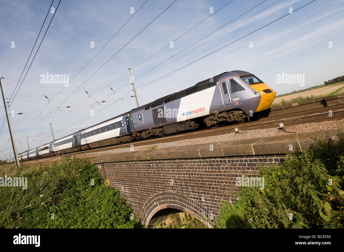 National Express 125 high speed train travelling through the english countryside on the east coast main line england - Stock Image