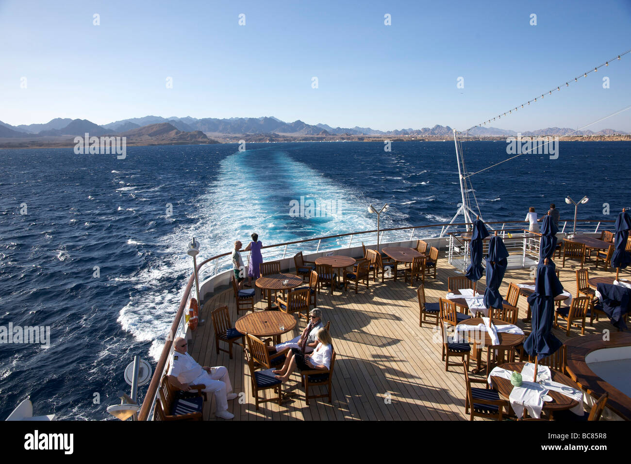 The pool deck of the Swan Hellenic Cruise Ship 'Minerva' - Stock Image