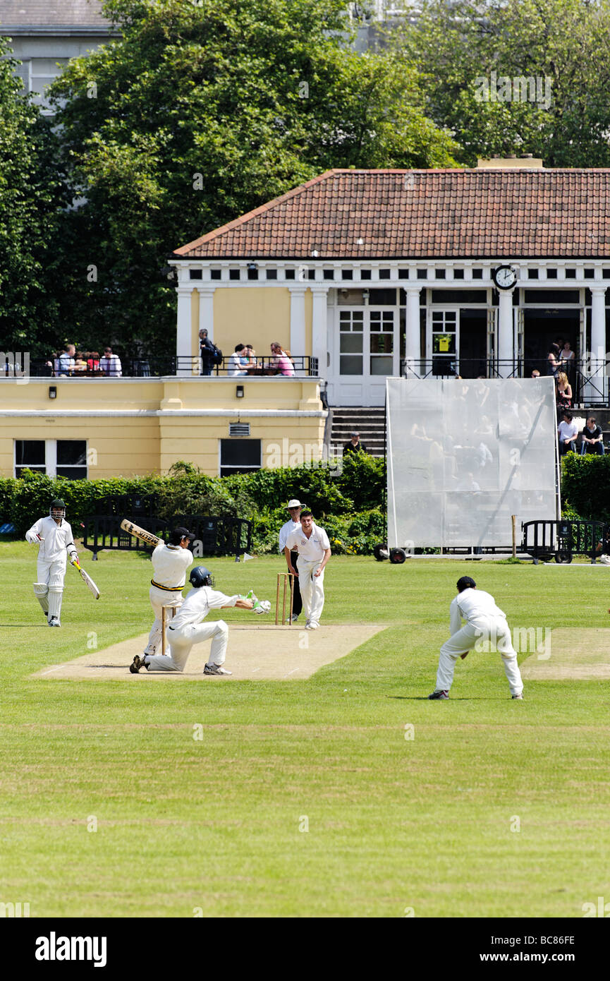 Match at Trinity College cricket club grounds in central Dublin Republic of Ireland Stock Photo