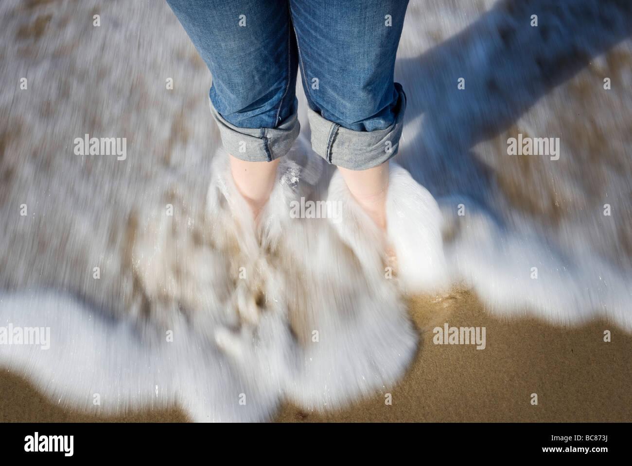 Water wash around legs - Stock Image
