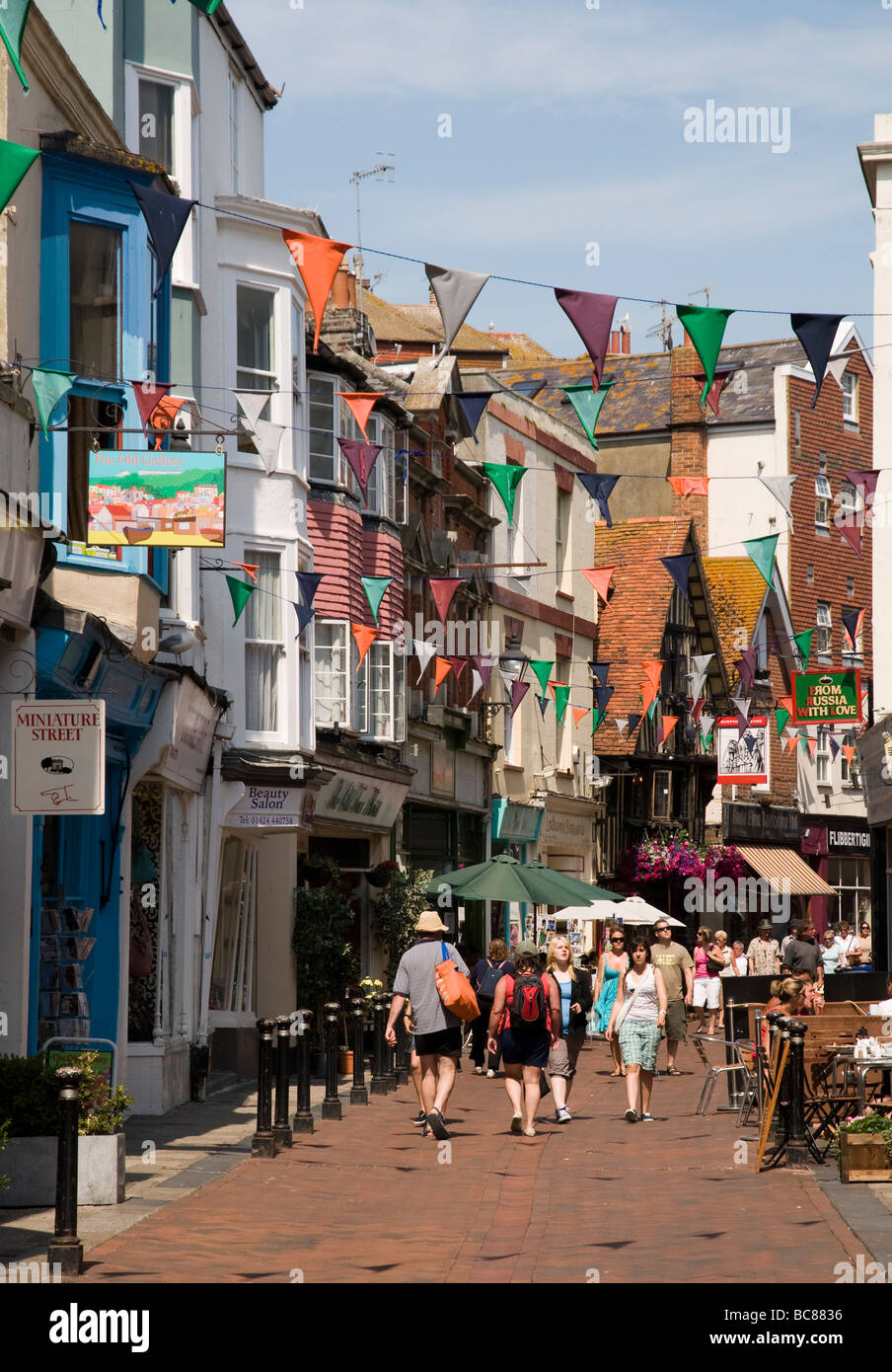 Hastings Old Town in Sussex, England. - Stock Image