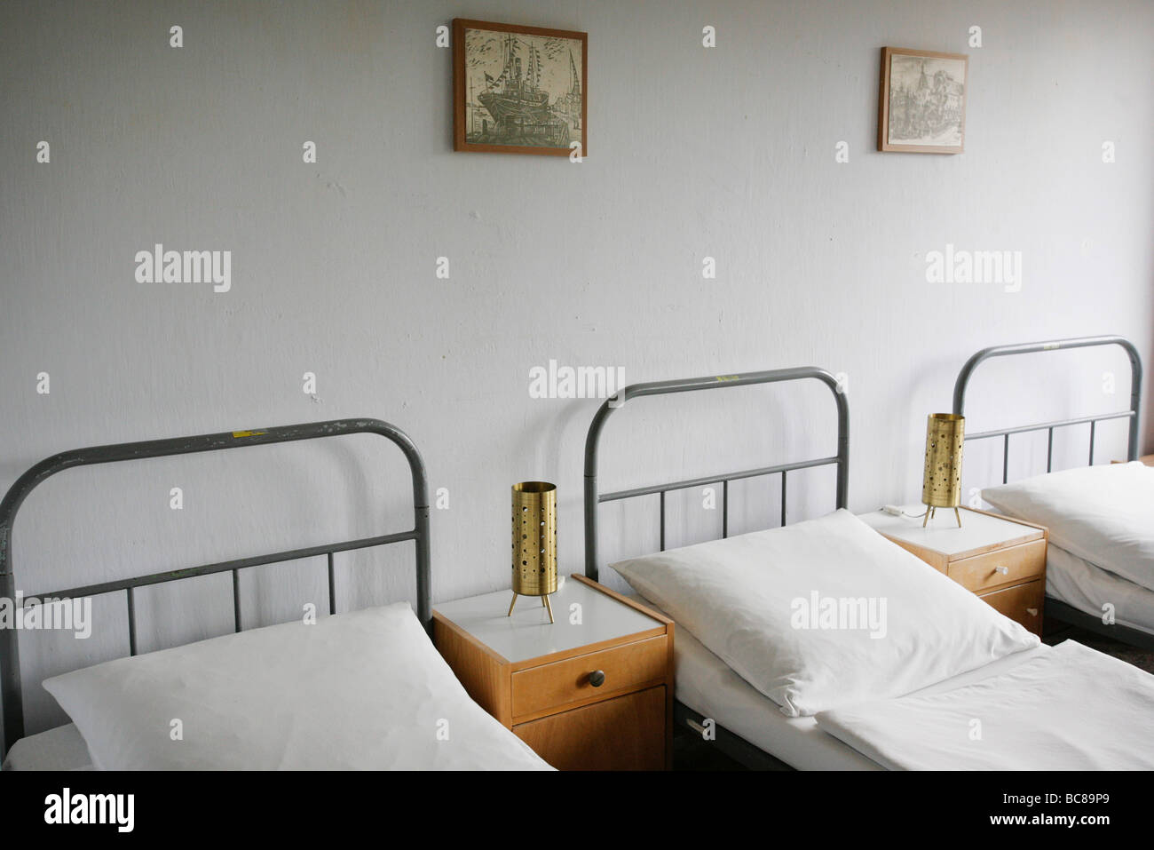 Muesum with beds in a room of a holiday home Prora Stock Photo