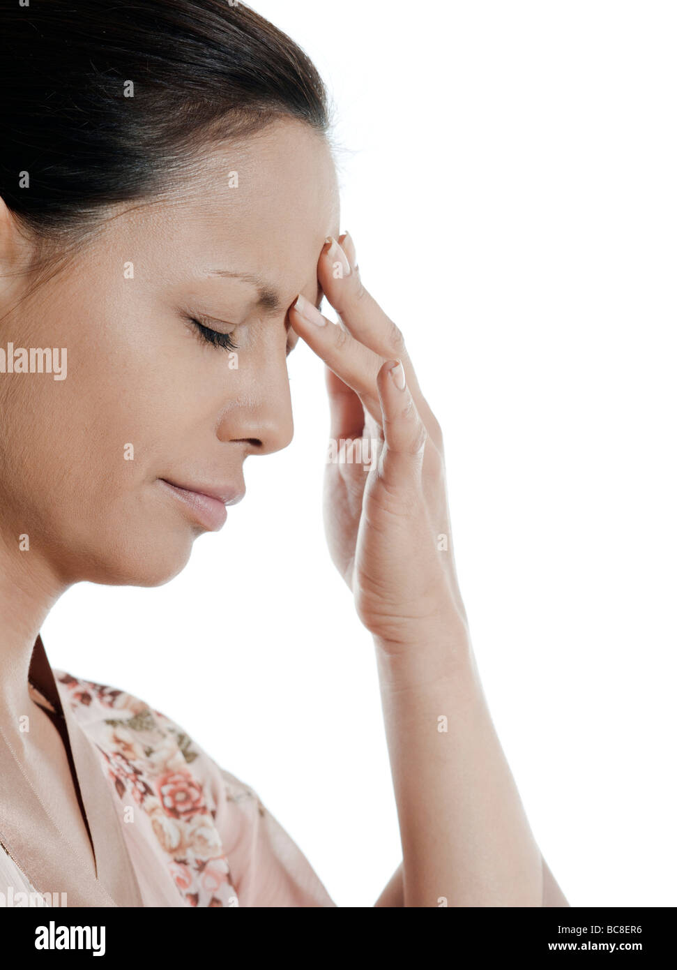 headache woman asian  on isolated white background - Stock Image