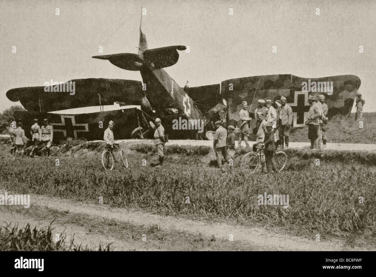 A German plane after being shot down over Oise. - Stock Image