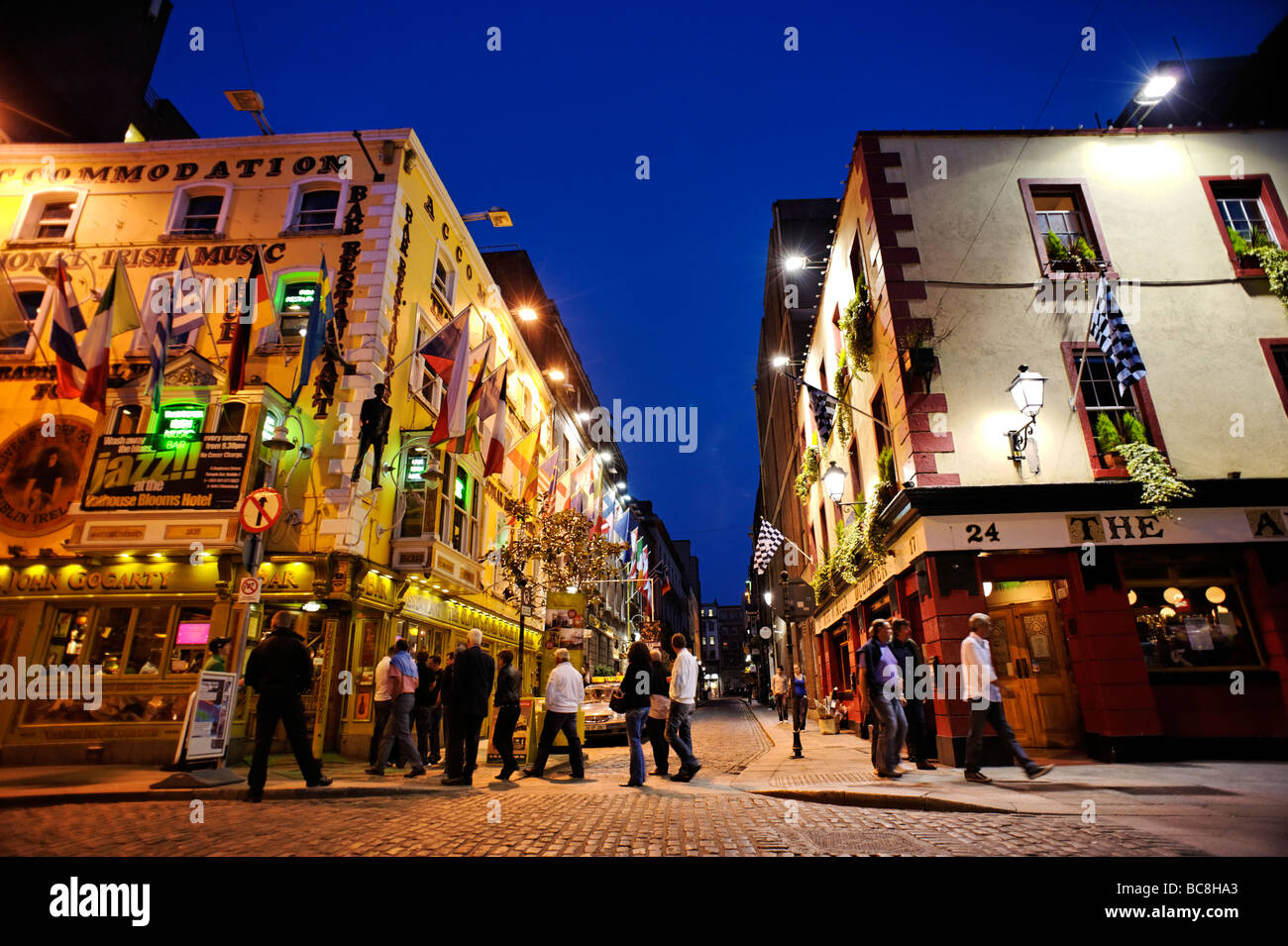 Row of pubs along the busy Temple Bar nightlife area Dublin Republic of Ireland - Stock Image