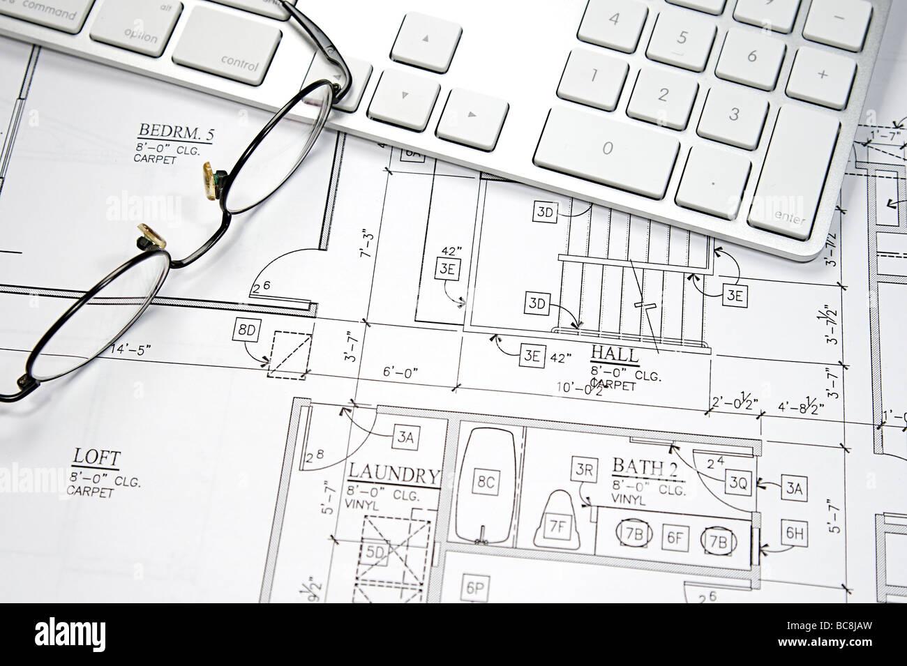 modern architecture blueprints minecraft dream house modern architect using cad blueprint and computer stock photo