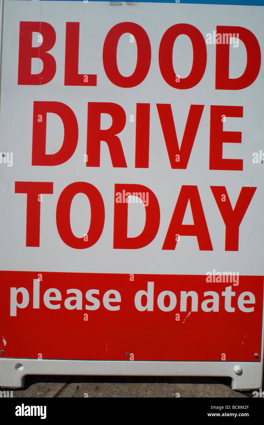 Blood drive sign in Astoria Queens in New York on June 27 2009 Frances Roberts - Stock Image