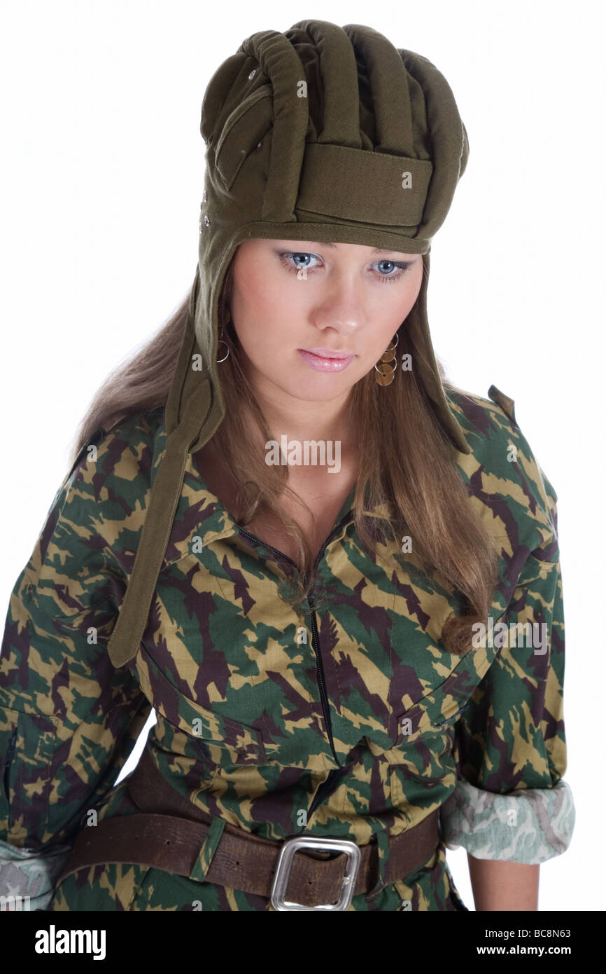 paratrooper girl on a white background - Stock Image