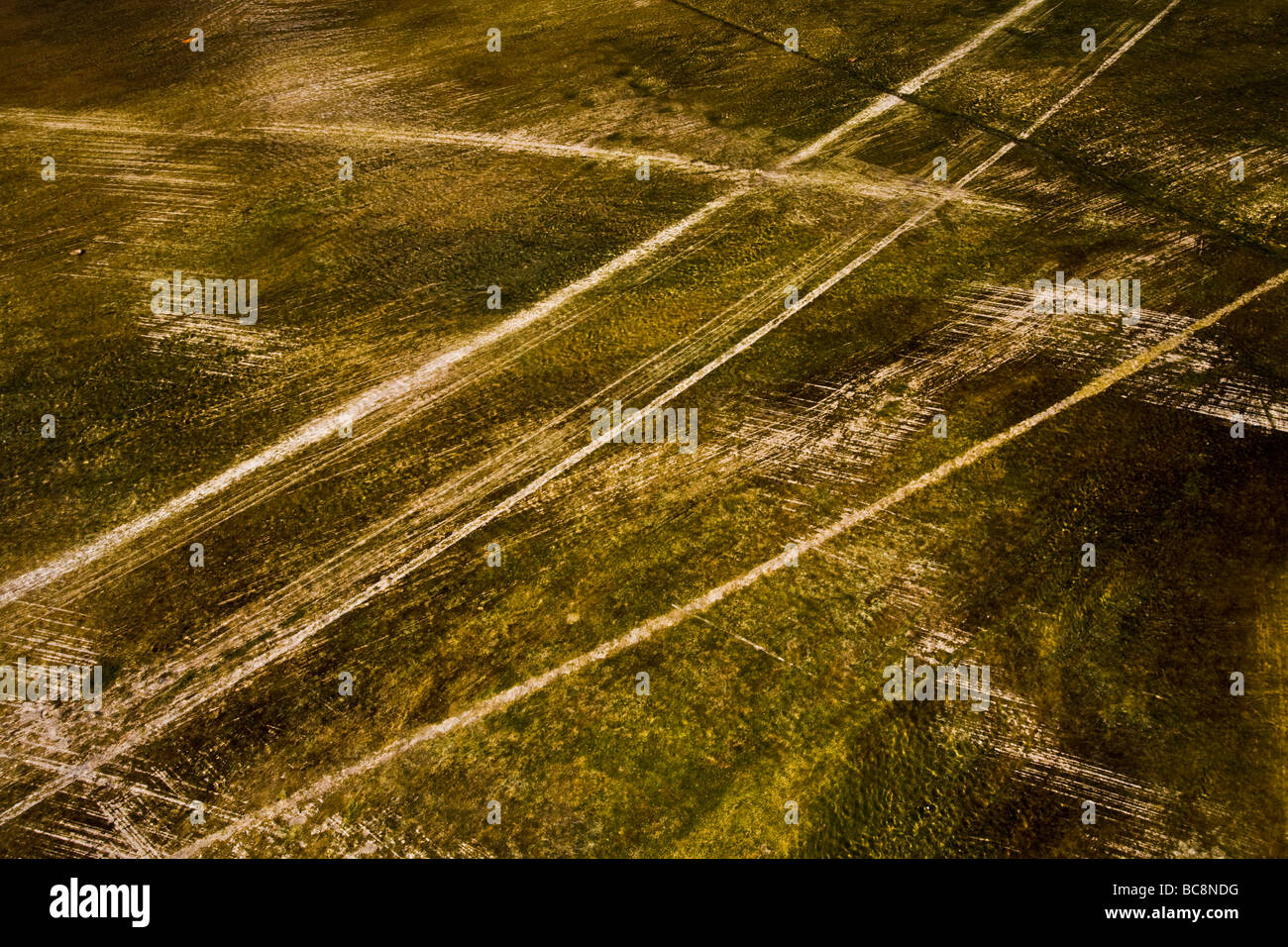 Tire tracks in the Los Angeles River Los Angeles County California United States of America - Stock Image