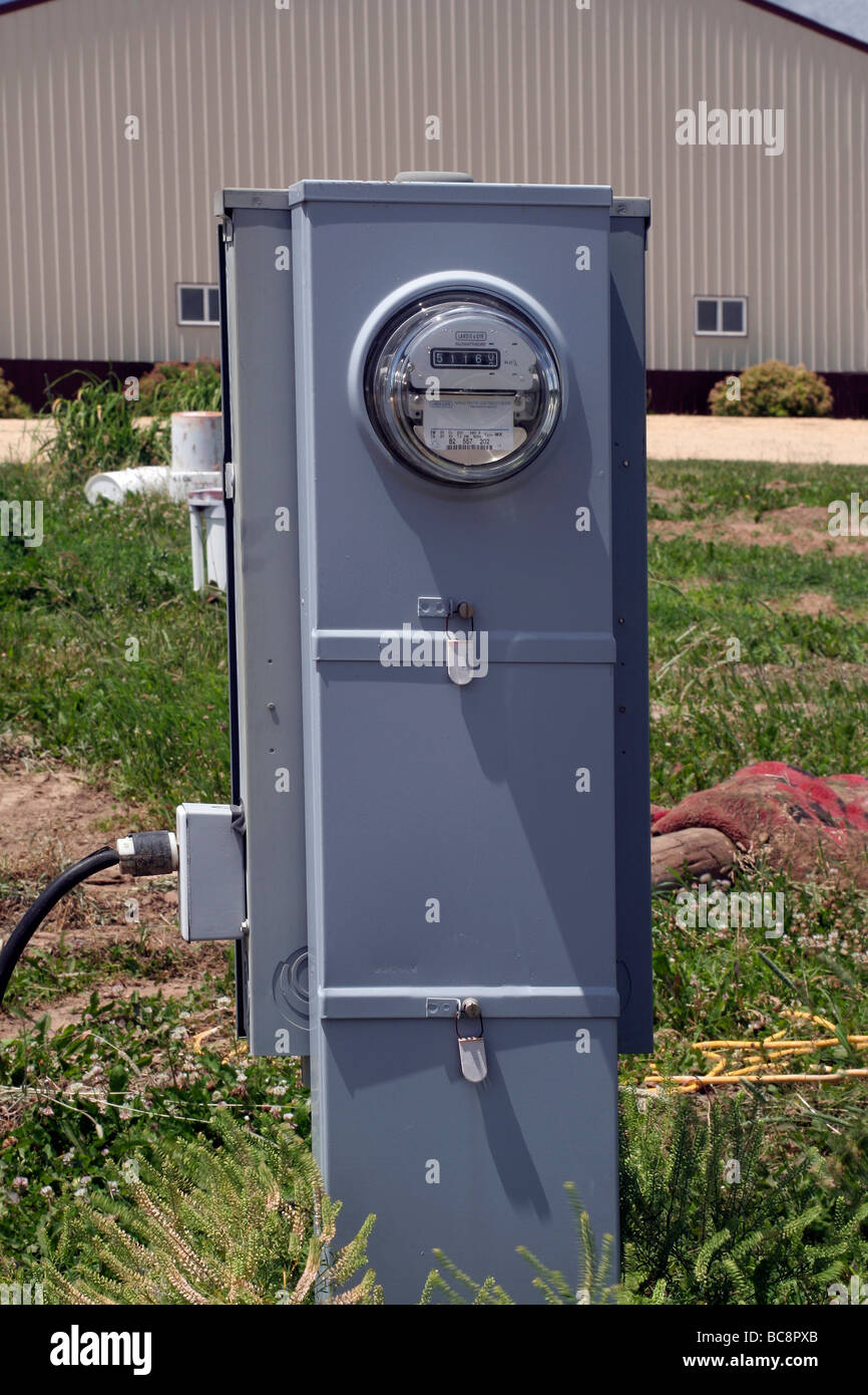 Secondary Electric Meter : Electric meter on a pedestal stock photo alamy