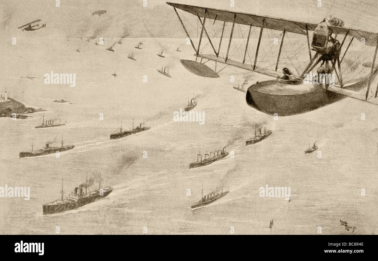 A convoy of merchant ships escorted by destroyers, seaplanes and a dirigible. - Stock Image