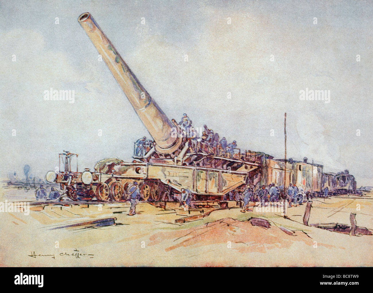 A 400mm railway howitzer in action in First World War. - Stock Image