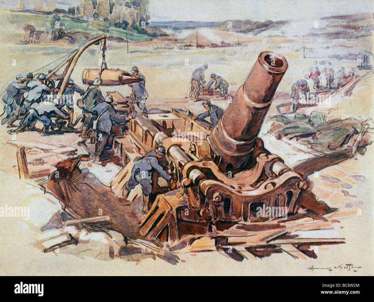 French Army 370mm mortar in action during First World War - Stock Image
