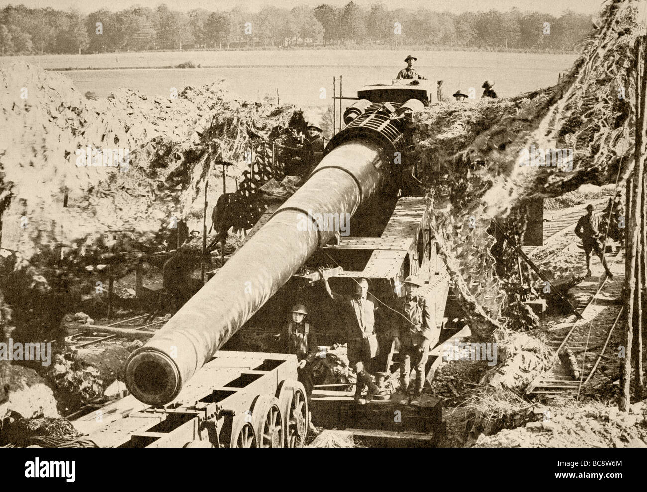An American 14 inch canon in position on the Western Front. - Stock Image