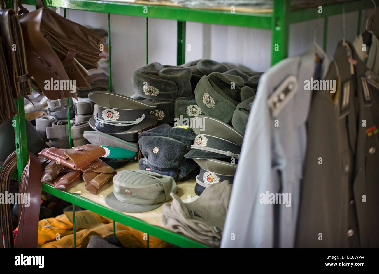 Uniforms of soldiers in a musuem Prora Stock Photo