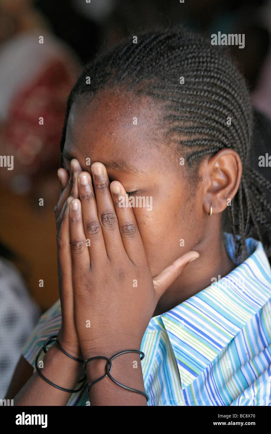 Painet jj1769 woman love people person namibia female praying love people person namibia female praying catholic Stock Photo