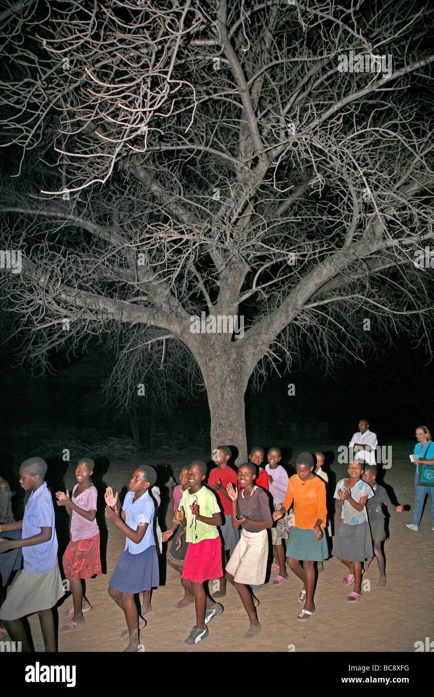 Painet jj1807 party tree people border person namibia girls tree people border person namibia girls dancing under Stock Photo