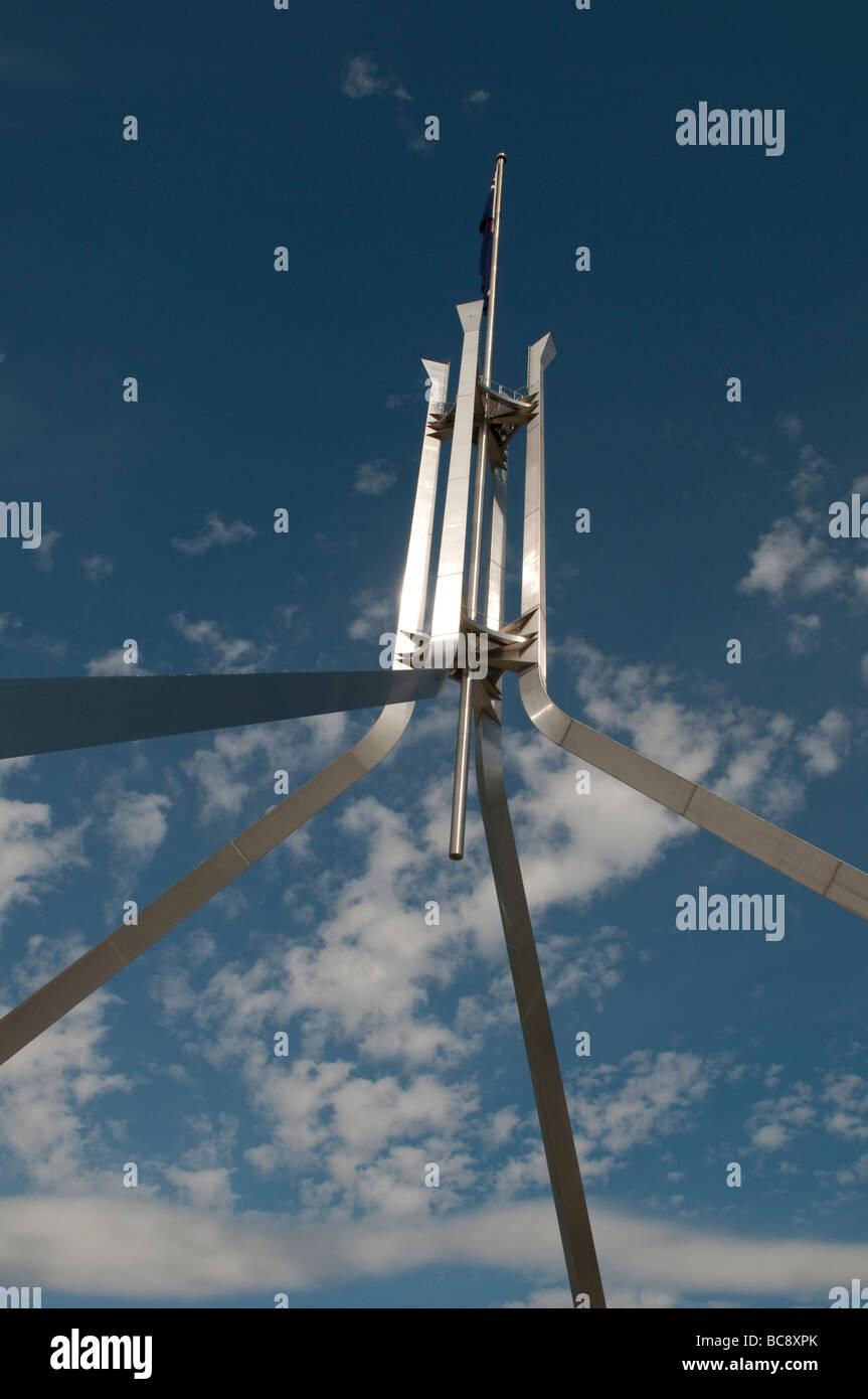 New Parliament House flagpole Canberra ACT Australia - Stock Image