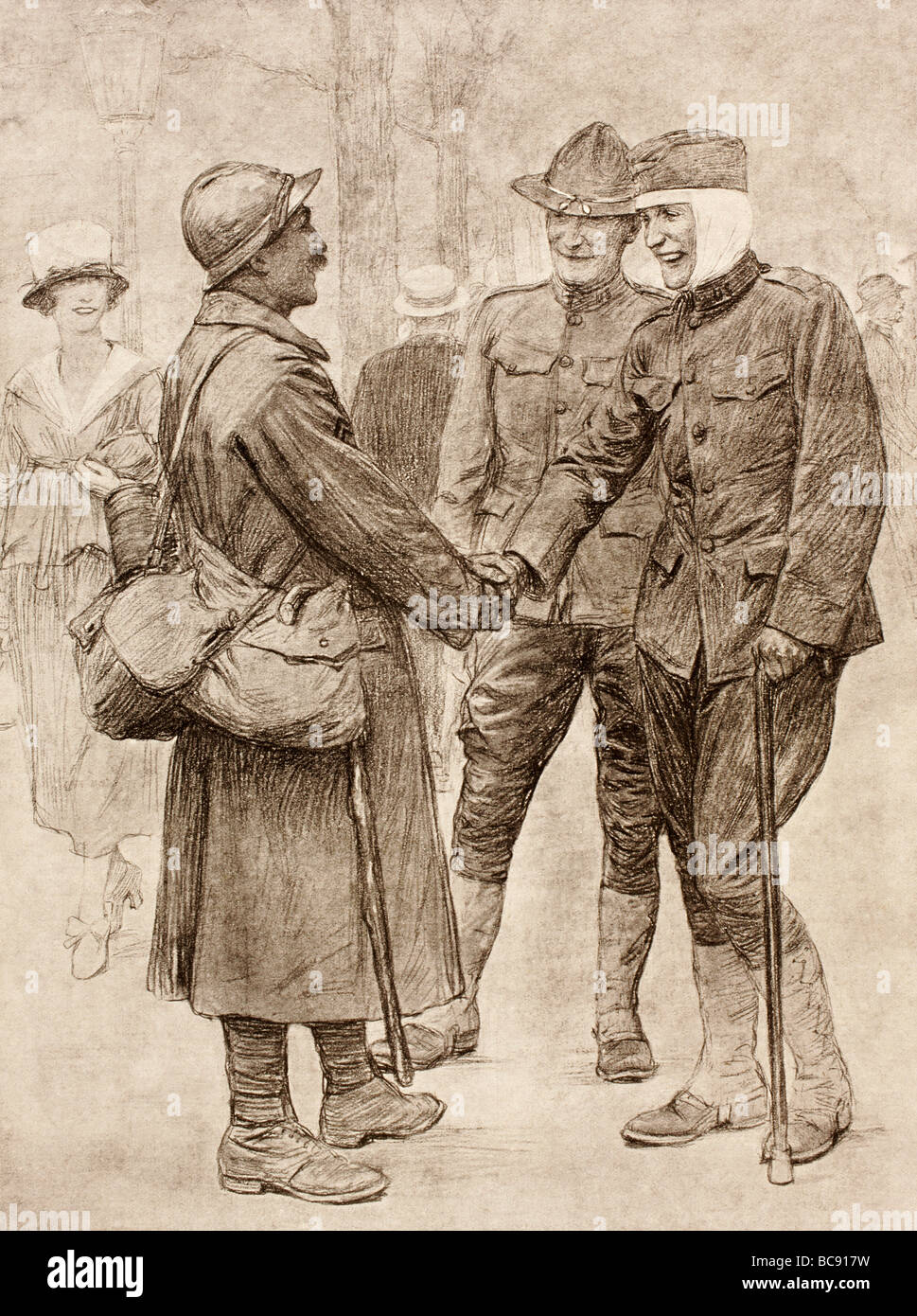 A French soldier on his way to the front greets a convalescing wounded American. - Stock Image