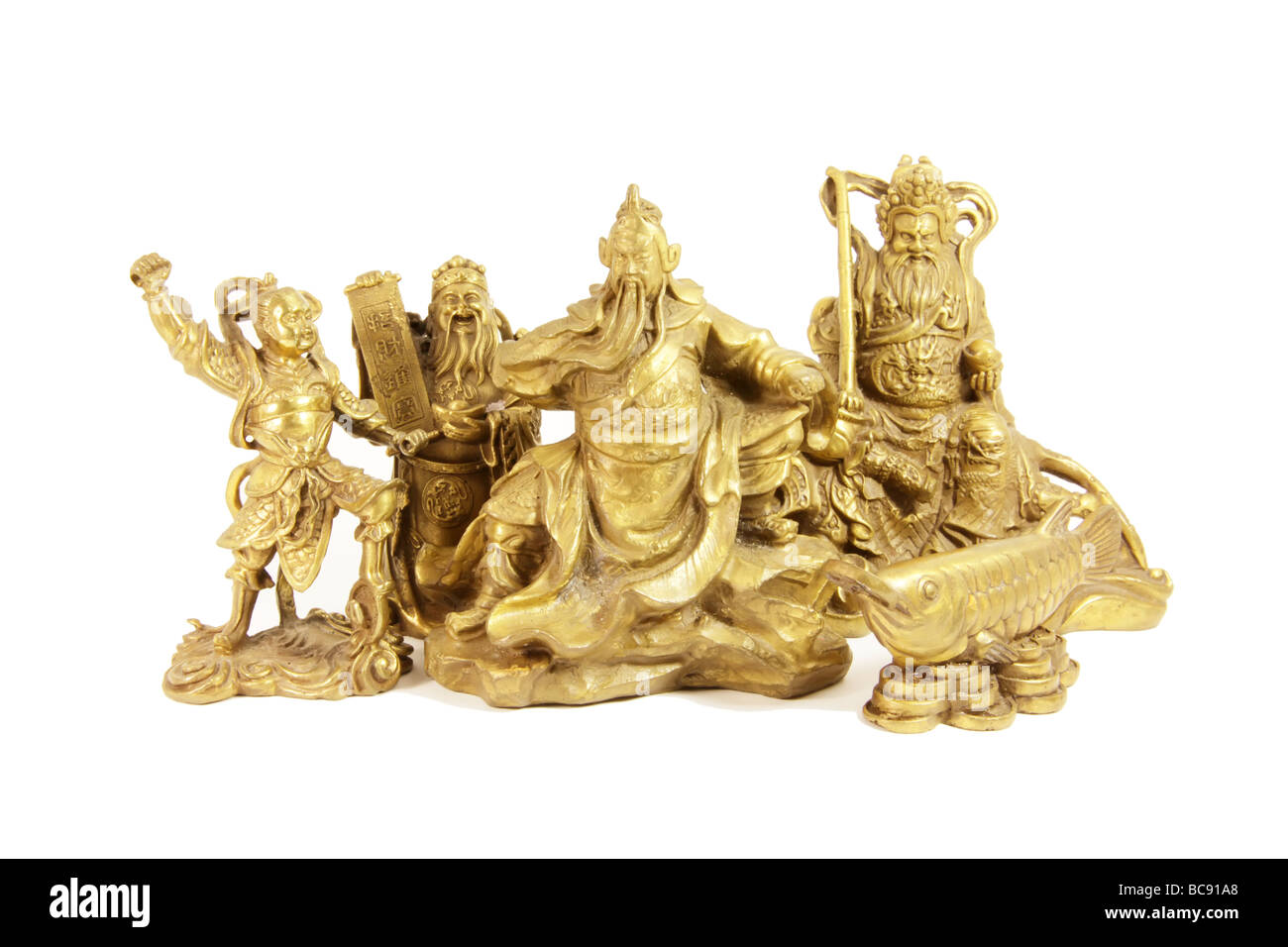 Chinese Deities and Gods in Brass Statues - Stock Image