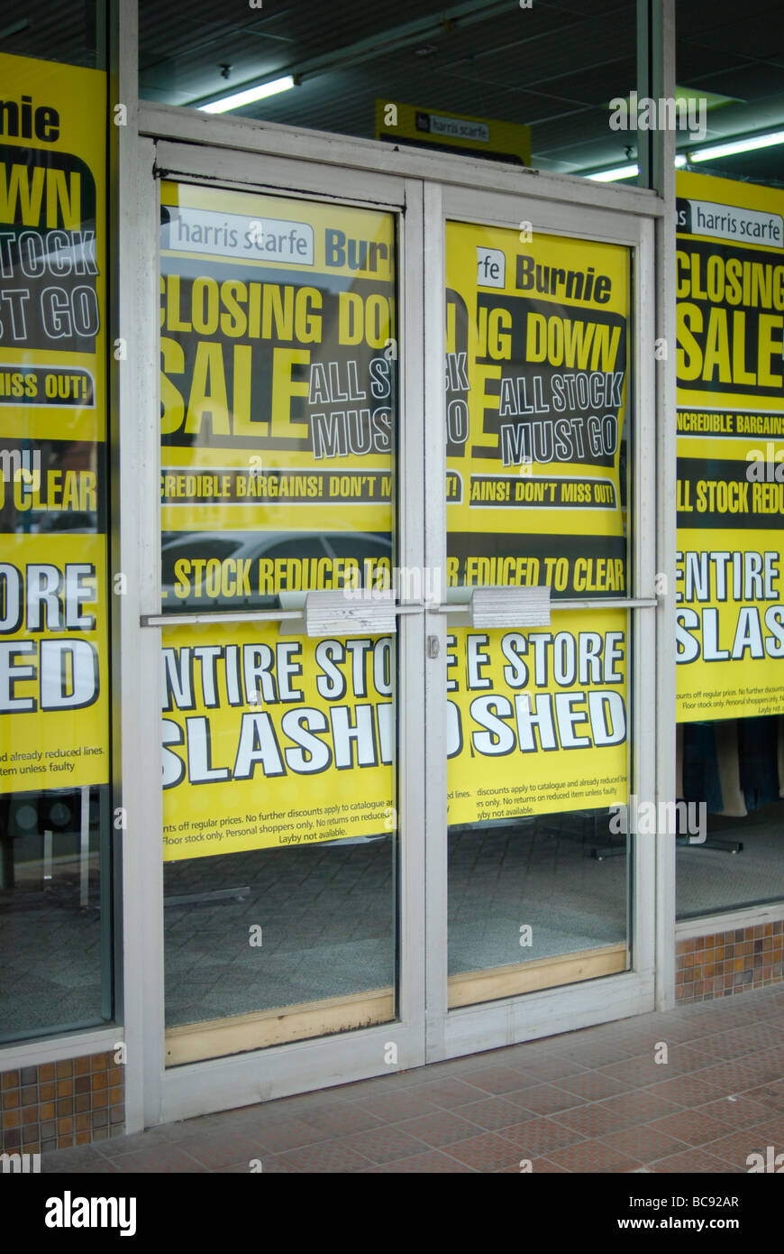 Fire sale of shop stock as a department store closes down - Stock Image
