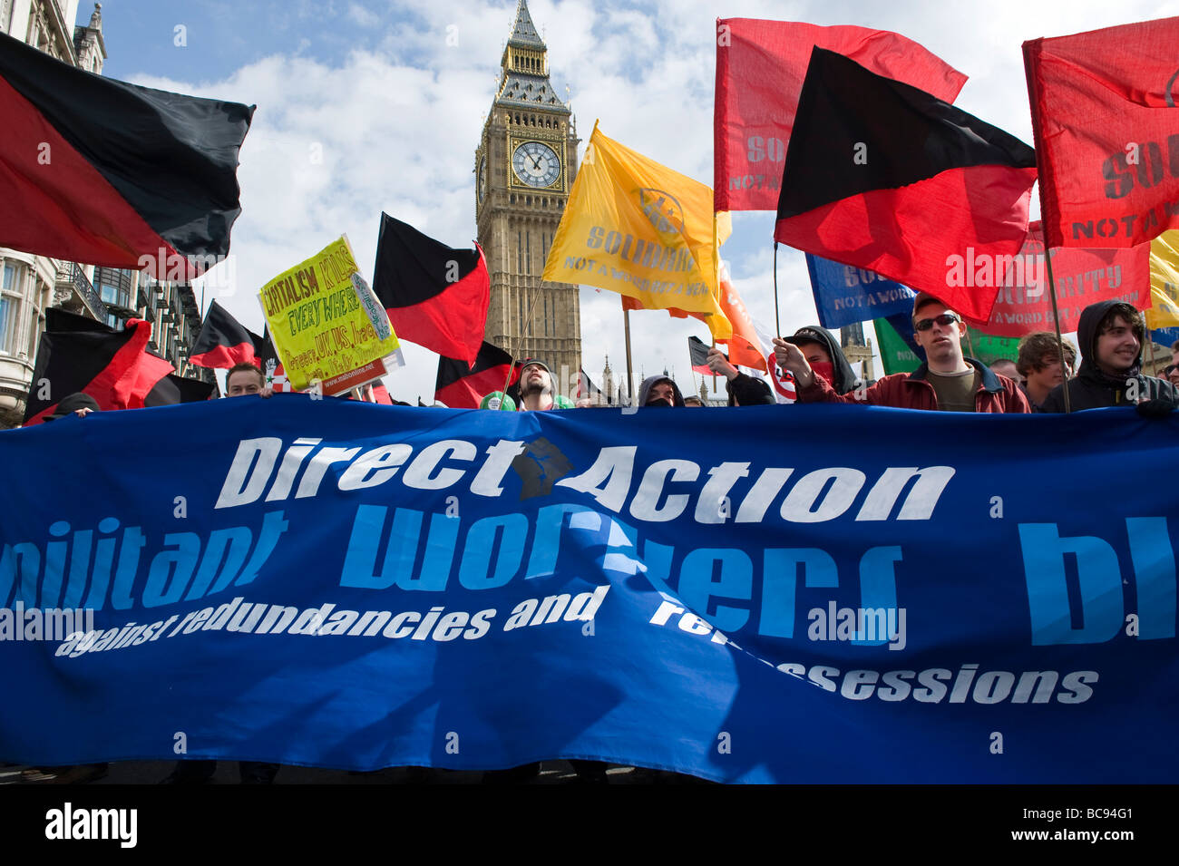March for jobs, justice and climate ahead of the G20 summit in London, Direct Action - Stock Image