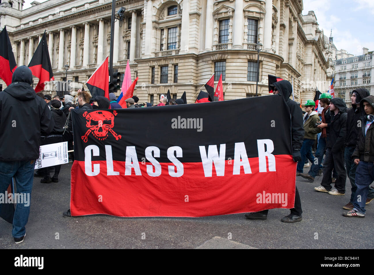 March for jobs, justice and climate ahead of the G20 summit in London, Class War  group - Stock Image