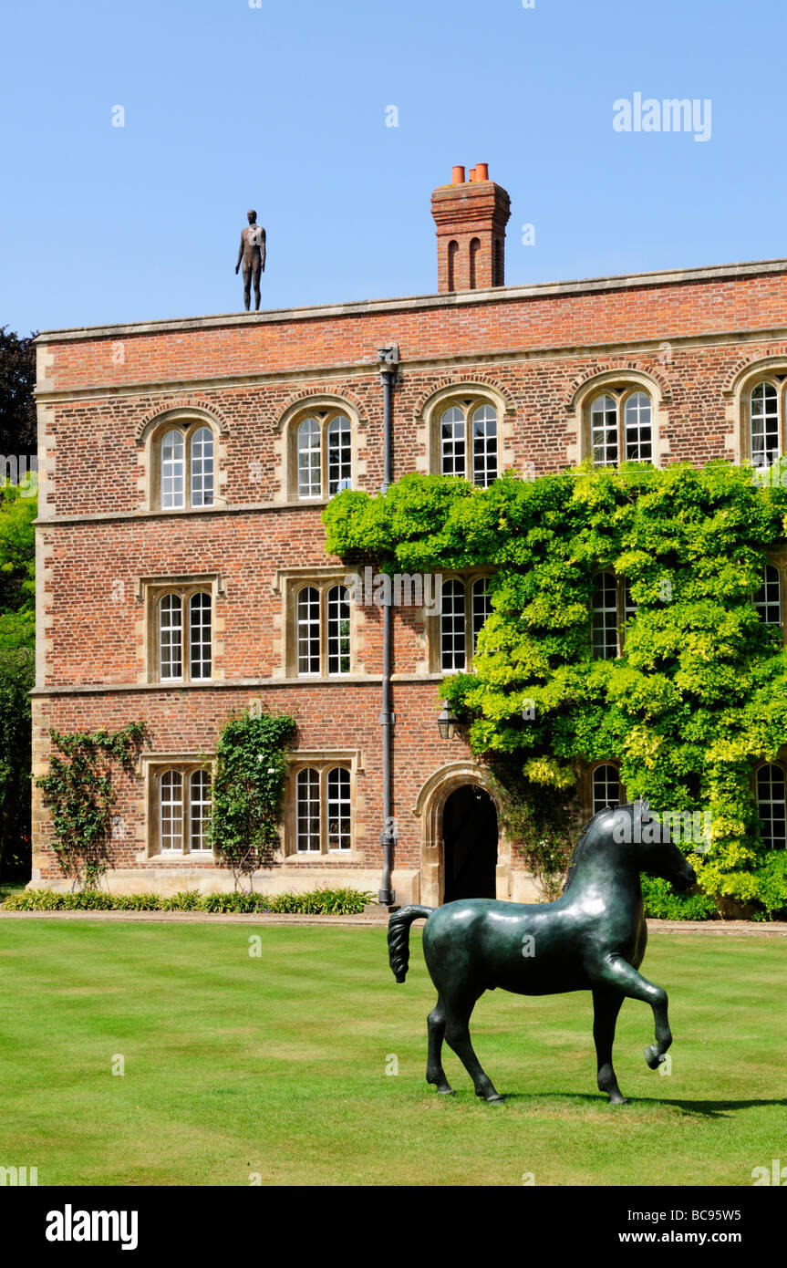 Jesus College Cambridge, with sculpure on the college roof, part of an exhibition in summer 2009, Cambridge England - Stock Image