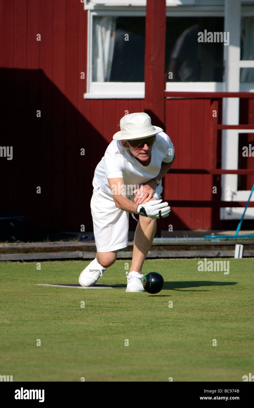 Lawn bowls match at Colemans Hatch East Sussex - Stock Image