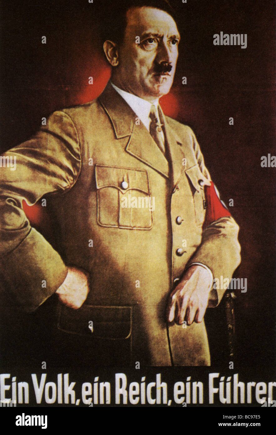 ADOLF HITLER in a 1939 poster. Note how the Swastika has been partyl hidden in order to emphasise the face - Stock Image