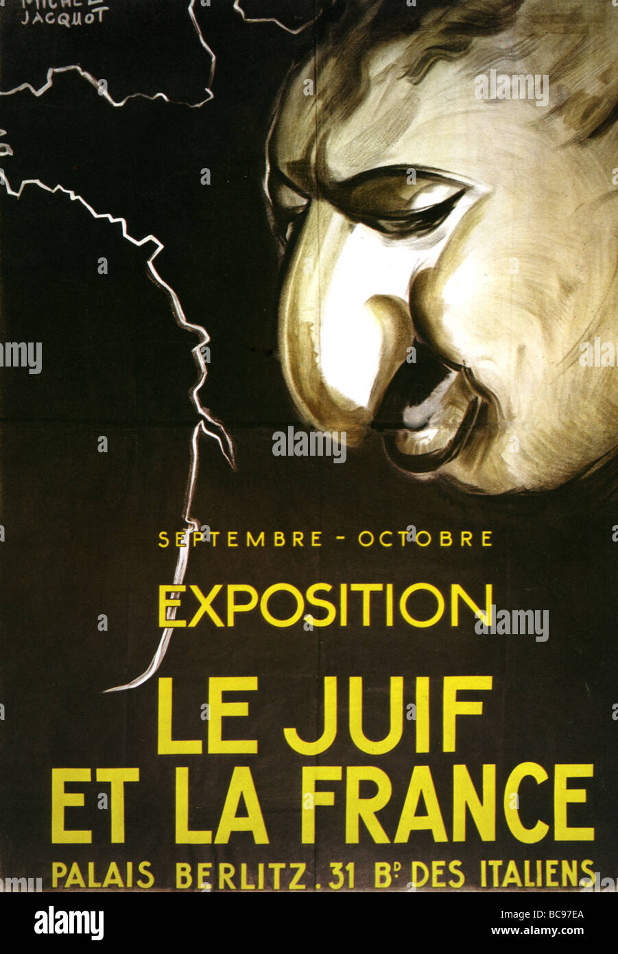 GERMAN poster advertising an anti Semitic exhibition in Paris in 1943 - Stock Image