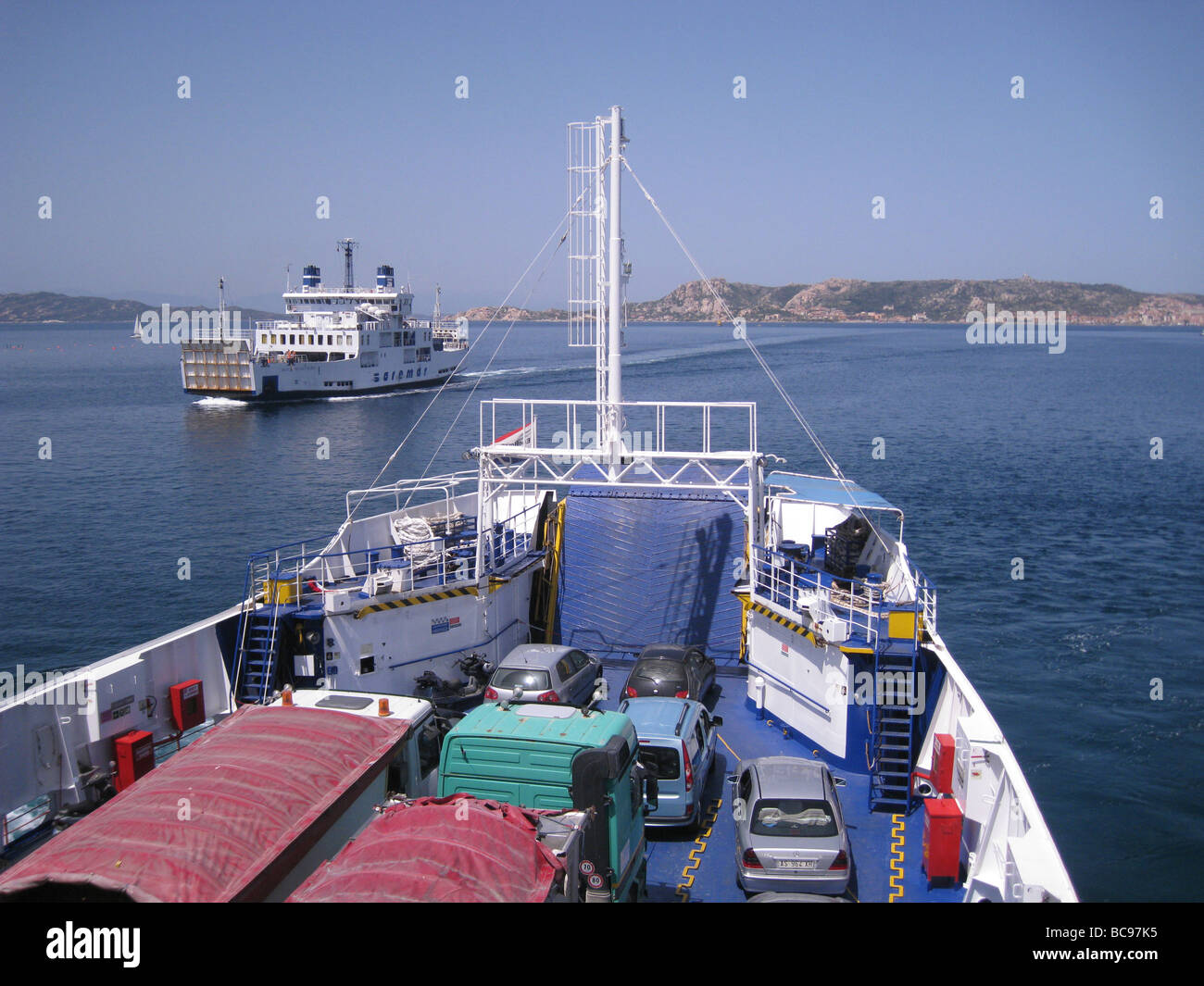 SARDINIA  ferries plying between the north east mainland port of Palau and the island of La Maddalena Stock Photo