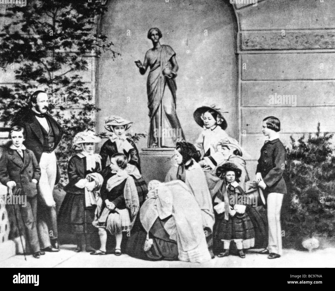 QUEEN VICTORIA and PRINCE ALBERT with their children in 1857. See Description below for names. - Stock Image