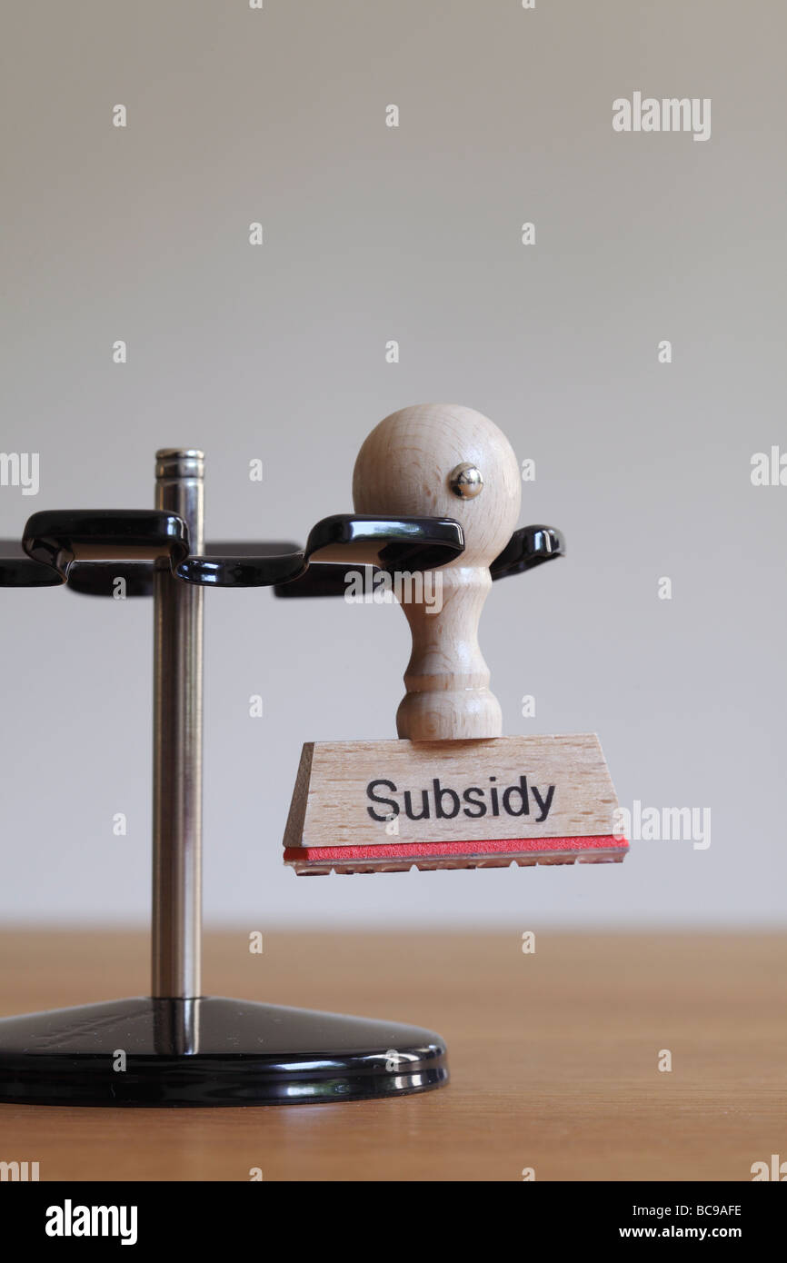 Stamp with inscription Subsidy - Stock Image