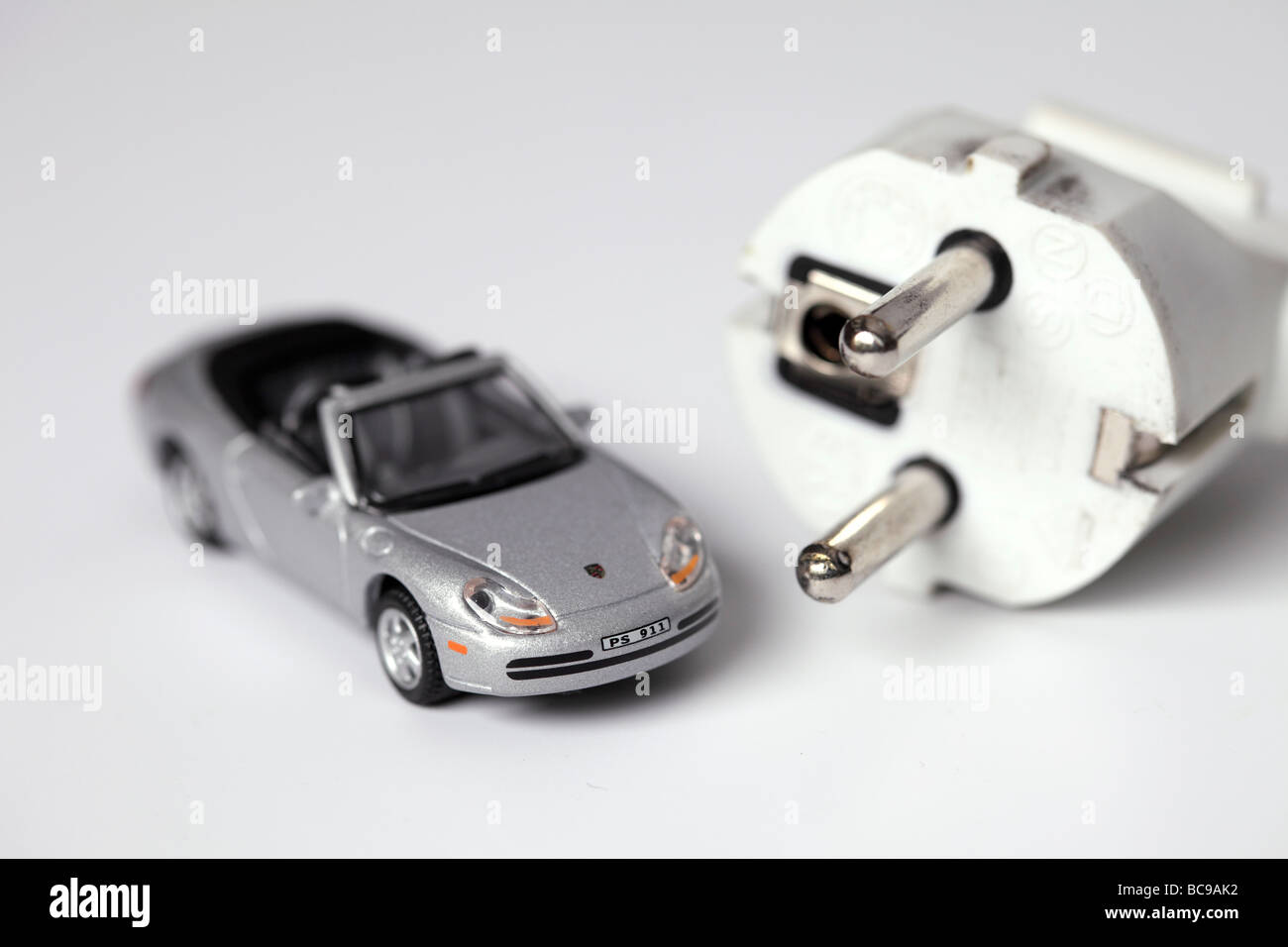 Car model with plug - Stock Image