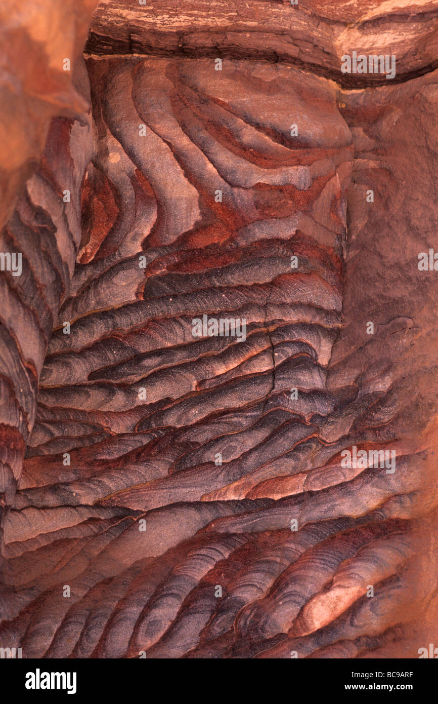 jordan Geological formations to Petra Stock Photo