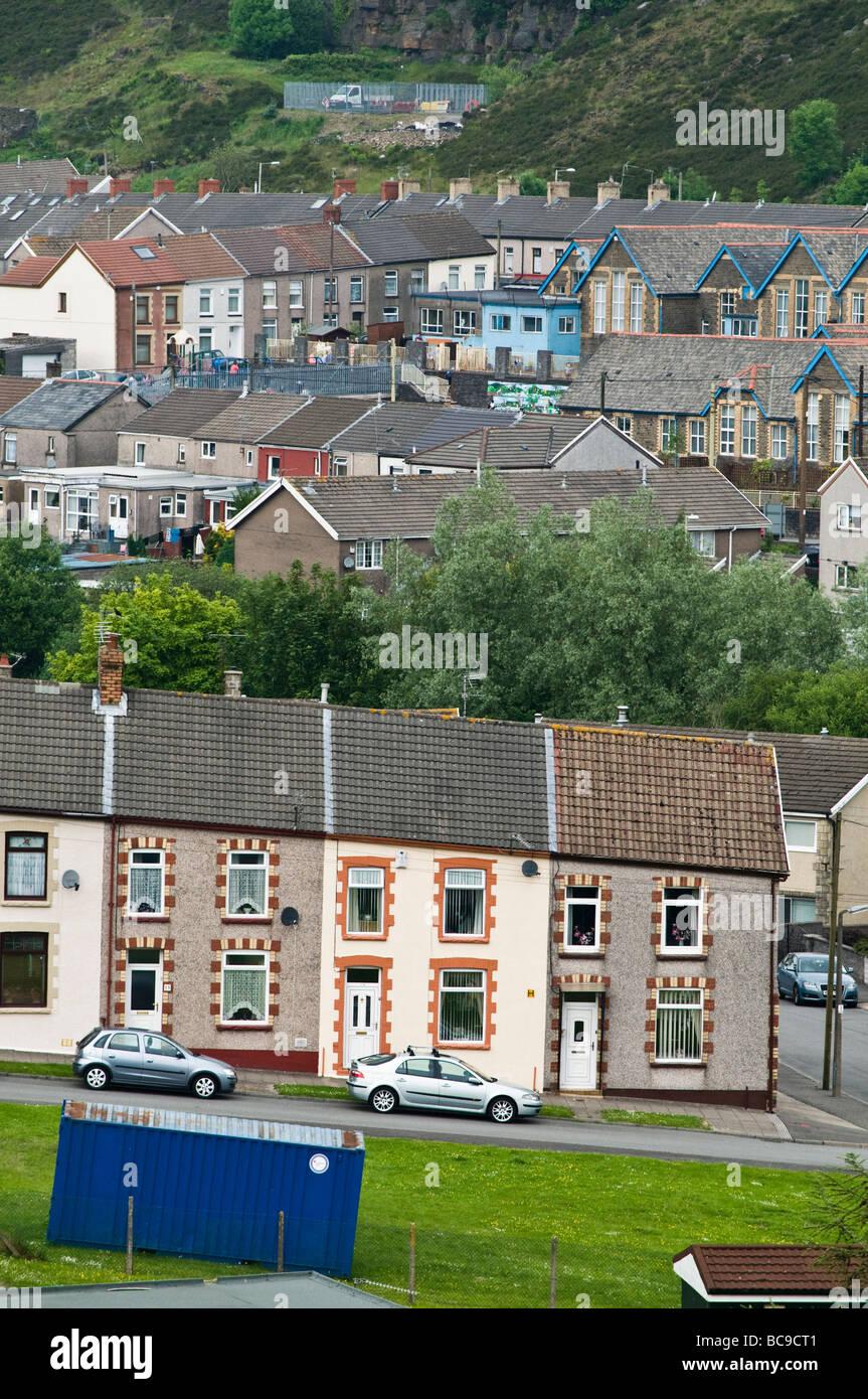 Rows of traditional welsh terraced houses Penygraig Rhondda Cynon Taf South Wales valleys UK - Stock Image
