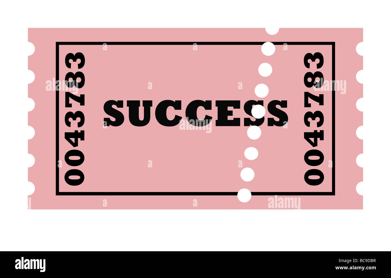 conceptual perforated ticket to success isolated on white background