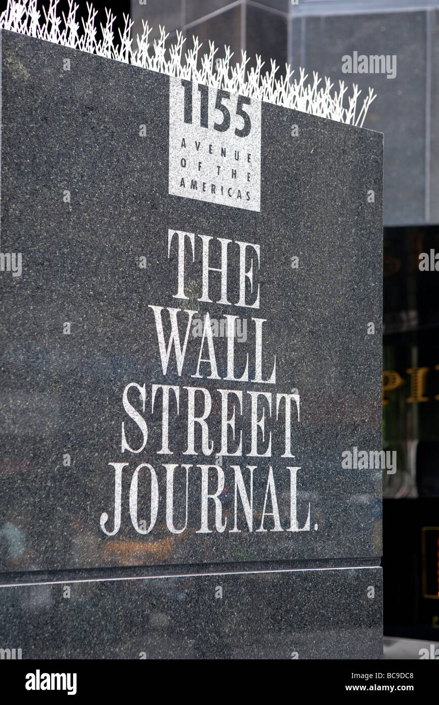 The Wall Street Journal front NYC - Stock Image