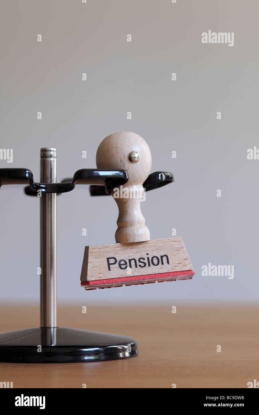 Stamp with inscription Pension - Stock Image