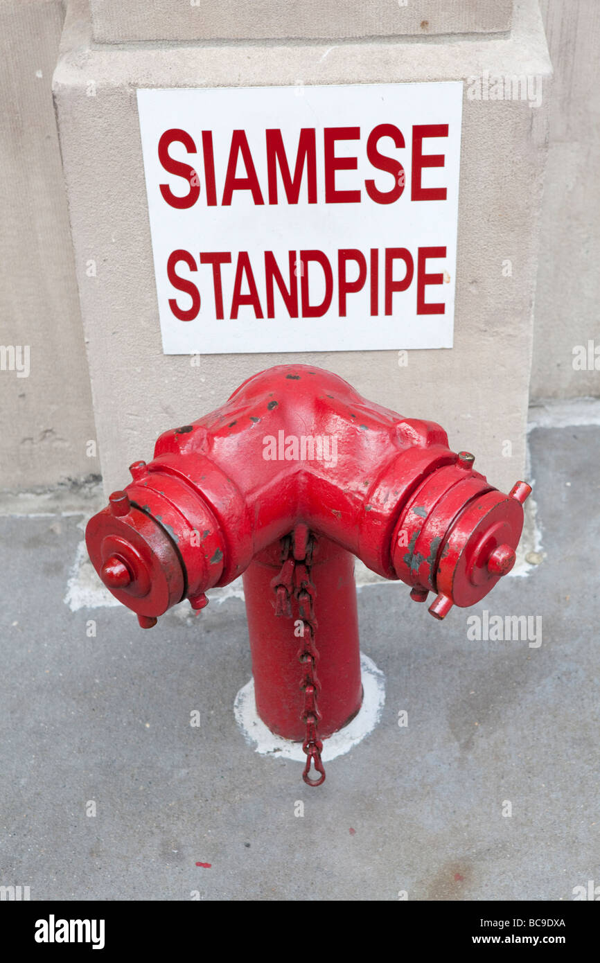 Siamese standpipe in NYC - Stock Image