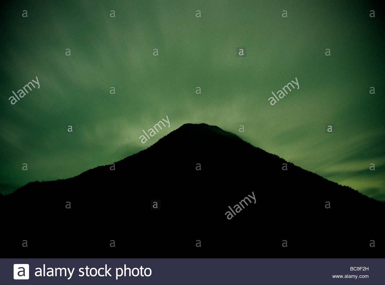 The volcano Toliman is seen from Santiago Atitlan. - Stock Image
