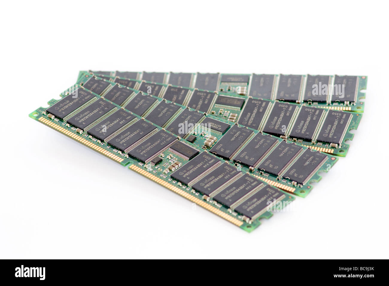 4 Sticks of DDR2 RAM diplayed in a fan on white background - Stock Image