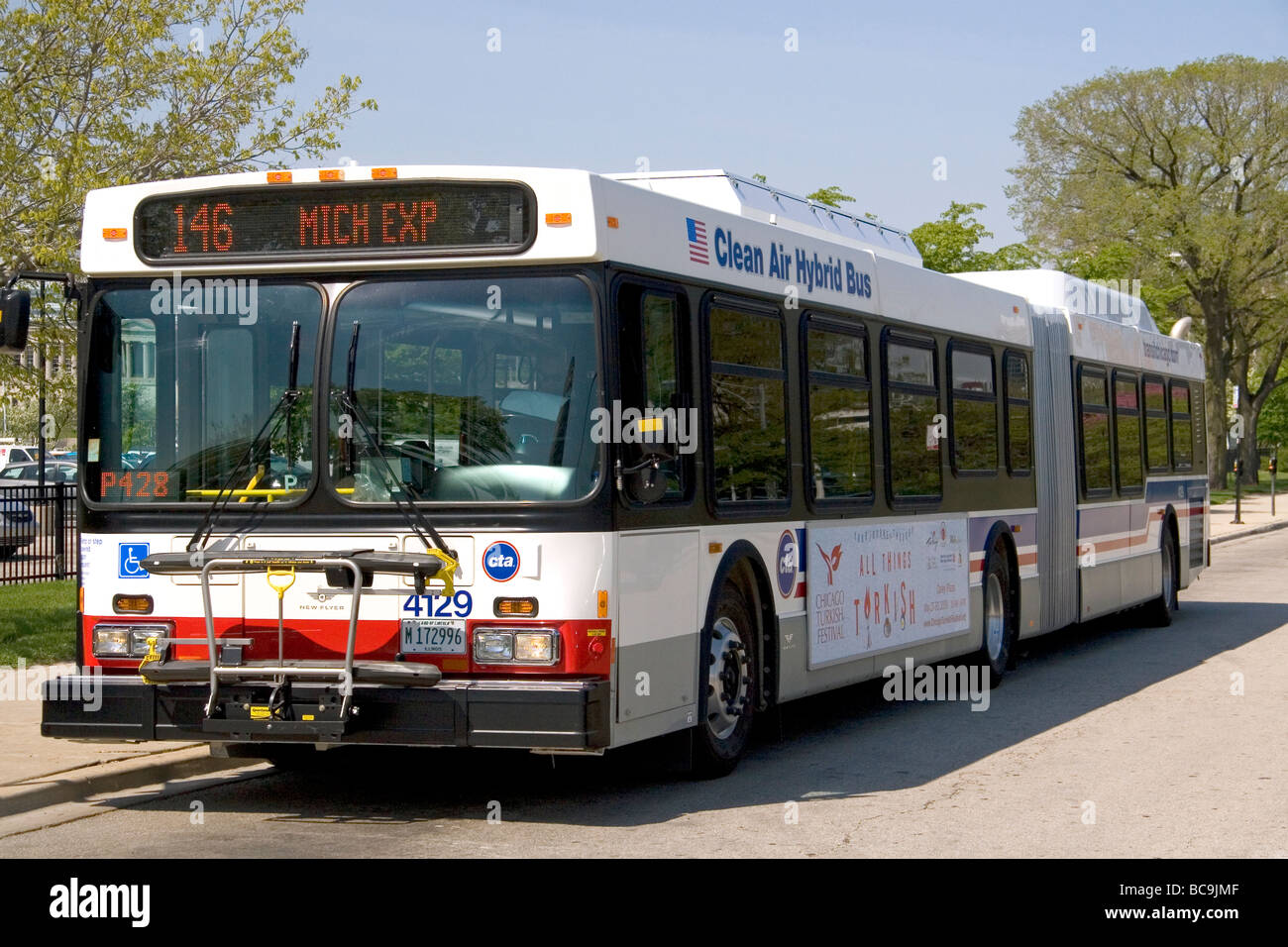 Diesel Electric Hybrid Public City Bus In Chicago Illinois