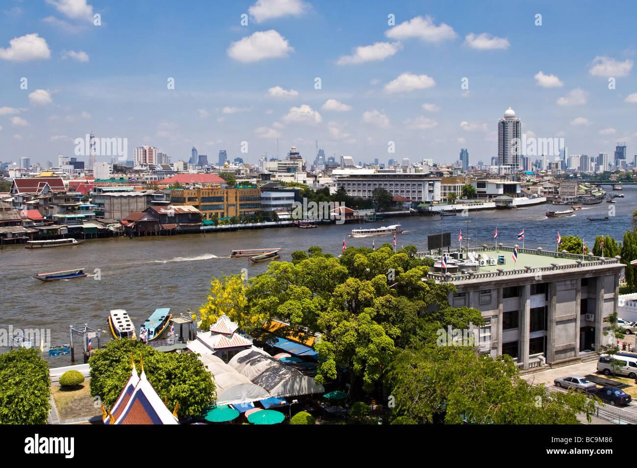 Panoramic view over the city centre of Bangkok, Thailand, along the Chao Praya river Stock Photo