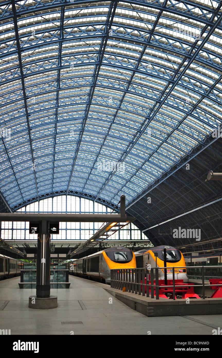 Eurostar trains at St. Pancras Station, London, England - Stock Image