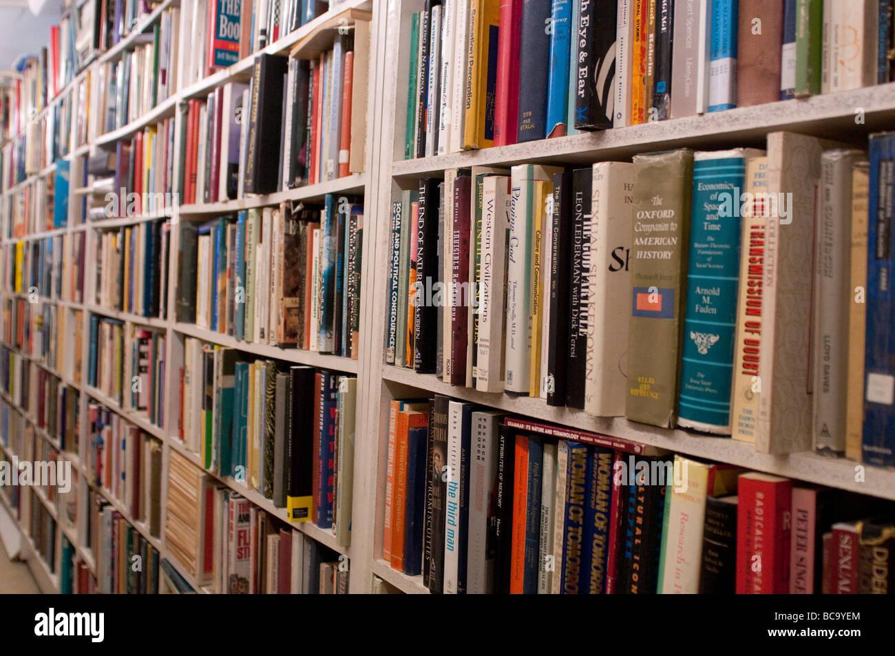 Books in Gould's secondhand bookshop on King Street, Newtown, Sydney, NSW, Australia Stock Photo