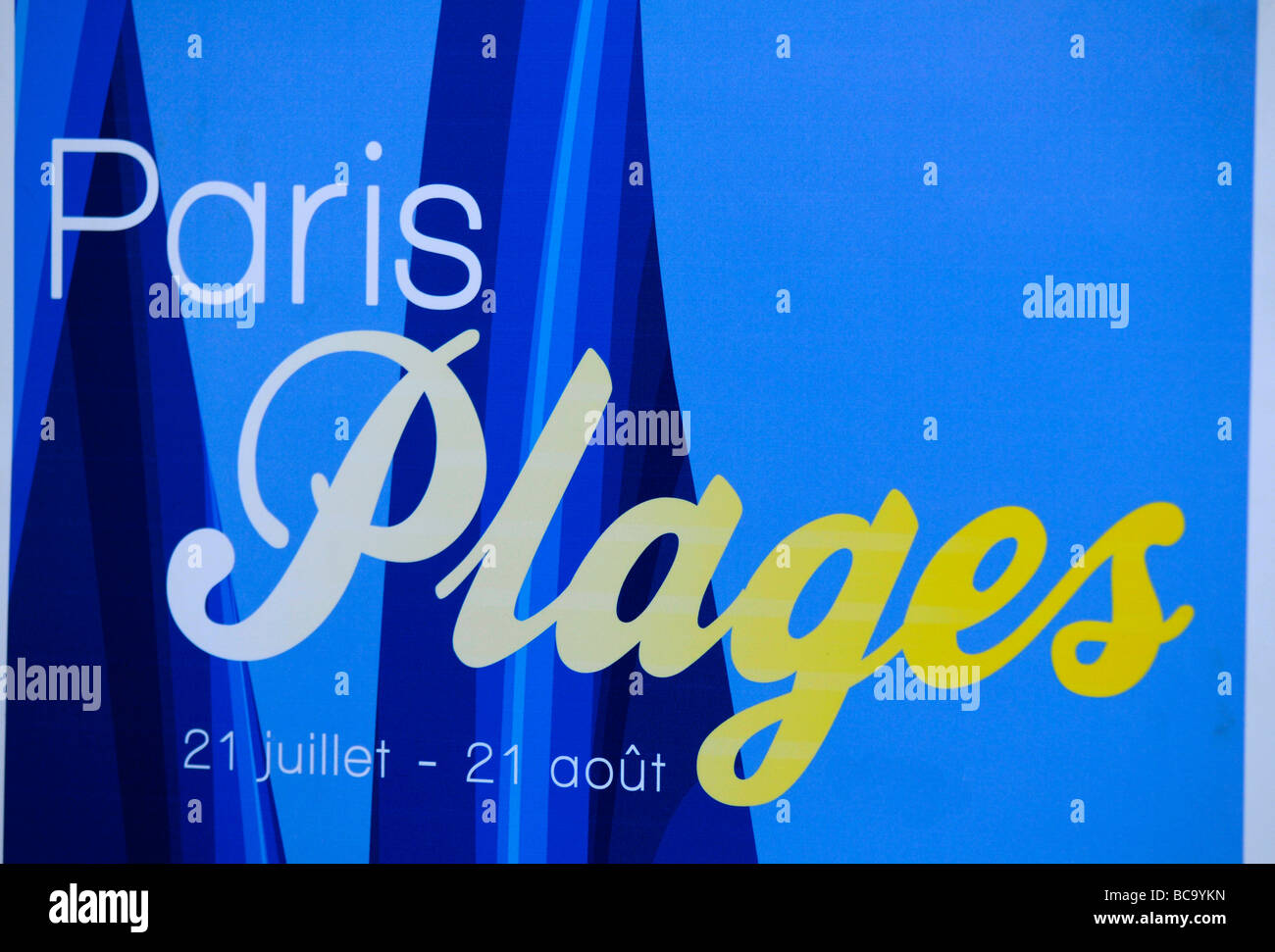 Paris plages logo, referring to the artificial beach set-up in summer in Paris, France. - Stock Image