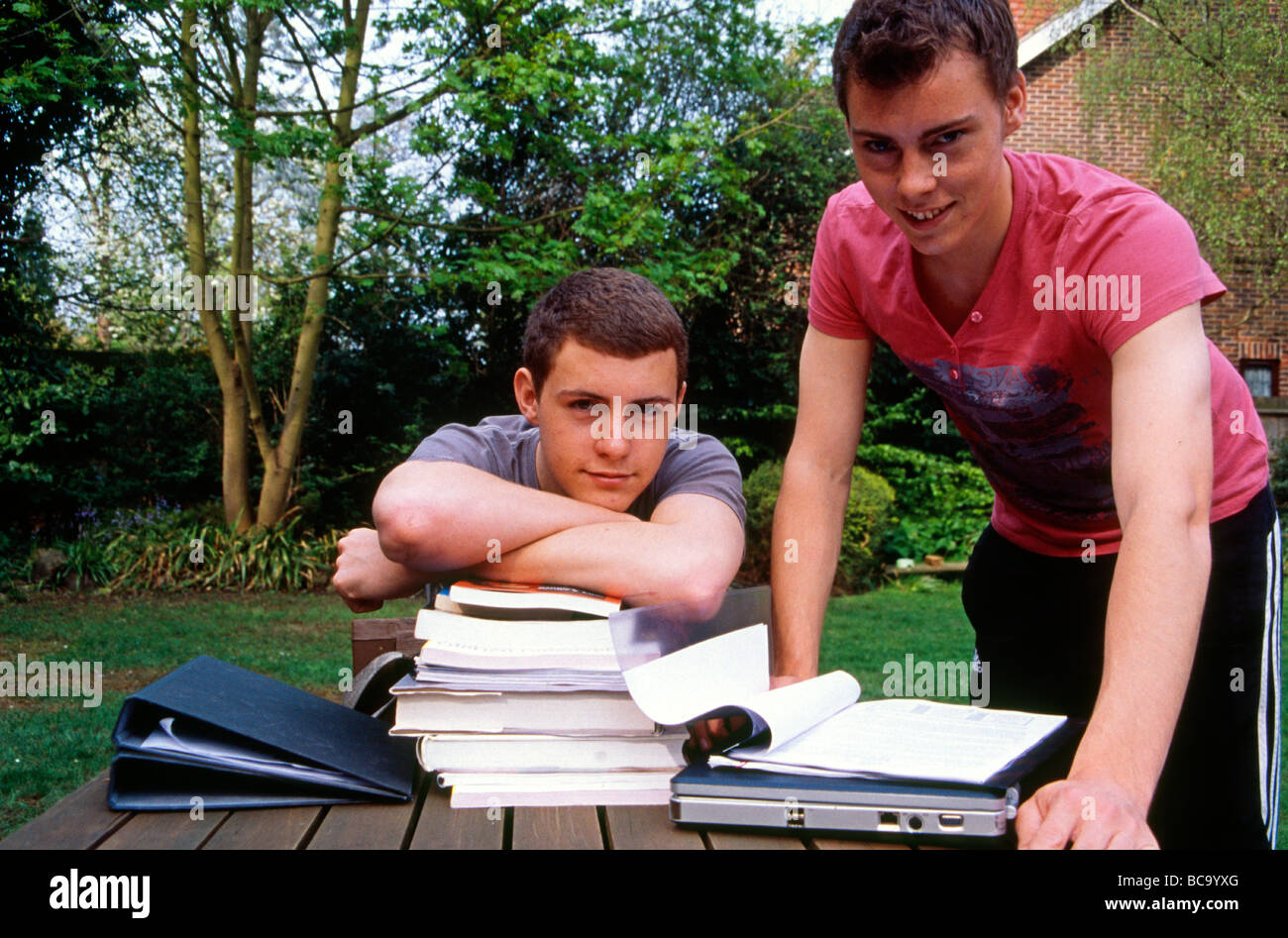 Non-identical twin brothers studying in their garden at home, Kent England - Stock Image
